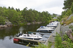 Small Marina in a Norwegian Fiord Stock Photo