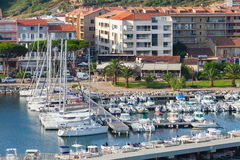 Small marina of Propriano resort town, Corsica. Propriano, France - July 4, 2015: Small marina of Propriano resort town, South region of Corsica island, France Stock Photography