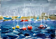 Small marina with red yachts. Painted by watercolors Royalty Free Stock Image