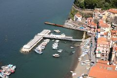 Small Marina 2 at Sorrento Italy. The small marina at Sorrento Italy showing boats water and buildings royalty free stock photos