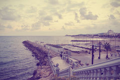 Small marina in the Spanish seaside resort Sitges; retro Instagram style Stock Photography