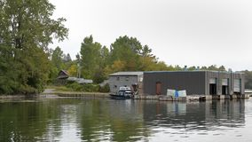 Small marina on the St Lawrence River Stock Image