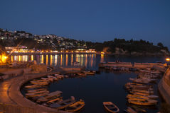 Small marina in Ulcinj by night, Montenegro Stock Images
