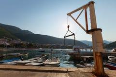Small marine crane in Petrovac, Montenegro Stock Image