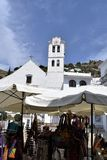 Small market opposite San Antonio church  in Frigiliana - Spanish white village Andalusia. Beautiful and charming with its narrow streets and footpaths white Royalty Free Stock Photos