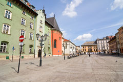 The Small Market Square in Cracow Stock Photography