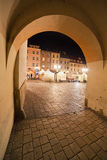 Small Market Square at Night in Krakow Stock Photos