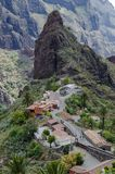 Small Masca town is a remote hilltop community. Masca was once a refuge for pirates. Tenerife Island. Canary Islands. Spain. Masca Valley, the second most royalty free stock photography