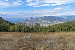 A small meadow on the mountainside. Crimea, September. Stock Image