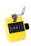 Small mechanical counter isolated. Small yellow mechanical counter isolated on white background royalty free illustration