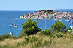 Small medieval city near the Mediterranean sea Royalty Free Stock Images