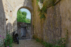Small medieval street with arch Royalty Free Stock Photo