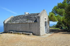 Small mediterranean church. A mediterranean church on the top of a hill in Croatia (Losinj island Stock Photos