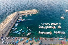 Small Mediterranean Port With Docked Boats, Aerial View Royalty Free Stock Image