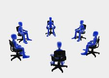 Small meeting. Six 3d figures sitting in a circle, blue over white background Stock Images