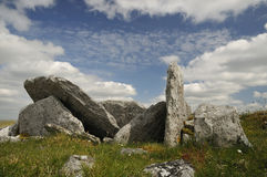 Small Megalithic Wedge Tomb. With collapsed roof, Killinaboy Common, The Burren Royalty Free Stock Images