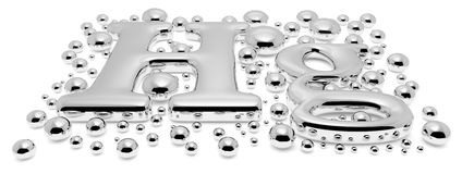 Small mercury Hg metal sign with drops perspective Royalty Free Stock Photography