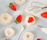 A small meringue Pavlova dessert with some strawberry slices . Top view. pattern. A small meringue Pavlova dessert with some strawberry slices . Top view Stock Image