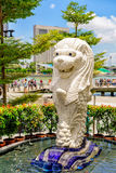 Small Merlion statue at Merlion Park at Marina Bay Singapore Stock Image