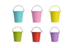 Small metal flower pot Candy color. Iron bucket colored paint metal flower pot Royalty Free Stock Photos