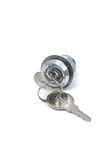 Small metal lock with two keys. A small metal lock with two keys on a white background Royalty Free Stock Image