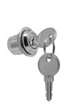 Small metal lock with two keys. A small metal lock with two keys on a white background Royalty Free Stock Photo