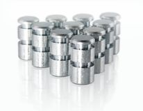 Small Metal Parts. In wedge formation; macro isolated royalty free stock image