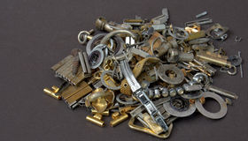 Small metal parts ready for garbage Stock Images