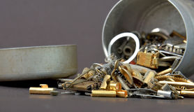 Small metal parts ready for garbage. Picture of an small metal parts ready for garbage Royalty Free Stock Photo