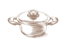 Small metal pot with lid Royalty Free Stock Image