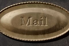 Small metal sign. For mail receiving area Stock Photos