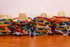Small mexican hats or sombreros  stacked up on top of each other stock photography