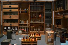 Small military chemical laboratory. Small battlefield chemical laboratory. technical museum Royalty Free Stock Photos