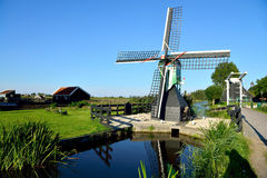 Small mill and bridge at the Zaanse Schans Stock Photography