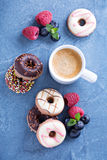 Small mini donuts with fresh berries Royalty Free Stock Photo