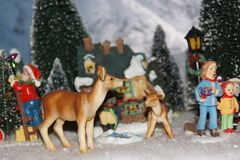 Small miniature village, decorated with Christmas royalty free stock photos