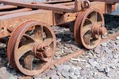 Small mining train wheels Stock Photo