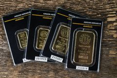 Small minted bars produced by the Swiss factory Argor-Heraeus - is one of the world's largest processors of precious metals. Kyiv, Ukraine - November 02 royalty free stock image