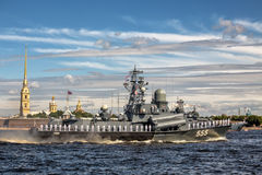 Small missile ship Geyser on rehearsal of the naval parade on the day of the Russian Fleet in St. Petersburg Royalty Free Stock Photo