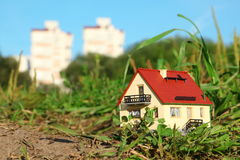 Small model of house in focus Stock Photography