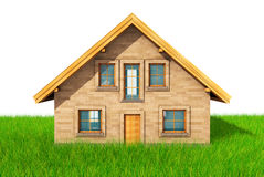 Small model of house over green grass background 3D render.  Stock Image