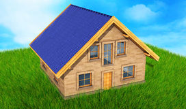Small model of house over green grass background 3D render.  Royalty Free Stock Photography