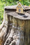 A small model of a house on a stump. Earth Day Celebration. Bright postcard to the day of the earth stock photos