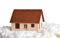 Small model of a wooden house Royalty Free Stock Image