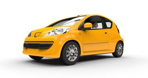 Small Modern Yellow Car Stock Photo