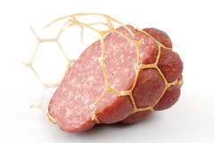 Small modest slice of sausage. Royalty Free Stock Photos