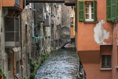Small Moline canal with old historical italian buildings Stock Photos
