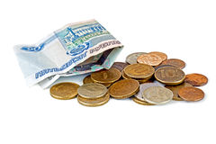 Small money of different denominations Royalty Free Stock Photo