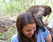 A small monkey sits on a girl`s shoulder Royalty Free Stock Images