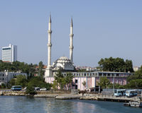 A Small mosque, Asian side Turkey. A small domed mosque with two minarets on the Asian side of Turkey along the edge of the Bosphorus strait Stock Photography
